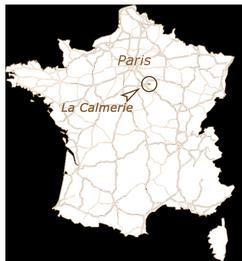 Carte de France indiquant le gîte la calmerie